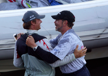 Ernesto Bertarelli and Larry Ellison met during the qualifications of the America's Cup, here in San Francisco, before the competition started in New Zealand © Thierry Martinez / OCEAN71 Magazine