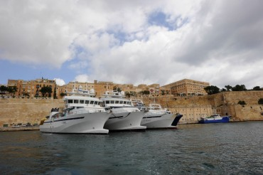 The Jean-Marie Christian 3, 5 and 6, the three tuna seiners of the Avallone family, in Grand Harbour, Valette, in June 2010 © Philippe Henry / OCEAN71 Magazine