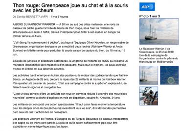L'article de l'AFP sur le thon rouge © DR