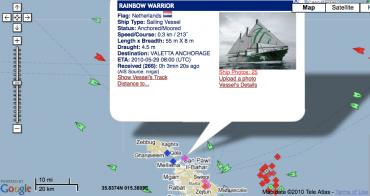 La position du Rainbow Warrior 2 au mouillage à Malte, alors que la journaliste de l'AFP le situe au large de l'île, à 50 km au Sud ©DR