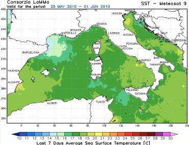 La carte de la température de l'eau dans le Bassin occidental de la Méditerranée © Mare et Venti