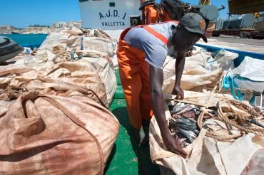 Les thons rouges sont engraissés quotidiennement avec des sardines, maqueraux et harengs qui arrivent d'Afrique ou d'Europe du nord © Philippe Henry / OCEAN71 Magazine