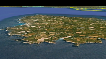 A 3D view of the South Coast of Belle-Ile. The Whale landed in the small creek in the forefront of the image © Google Earth