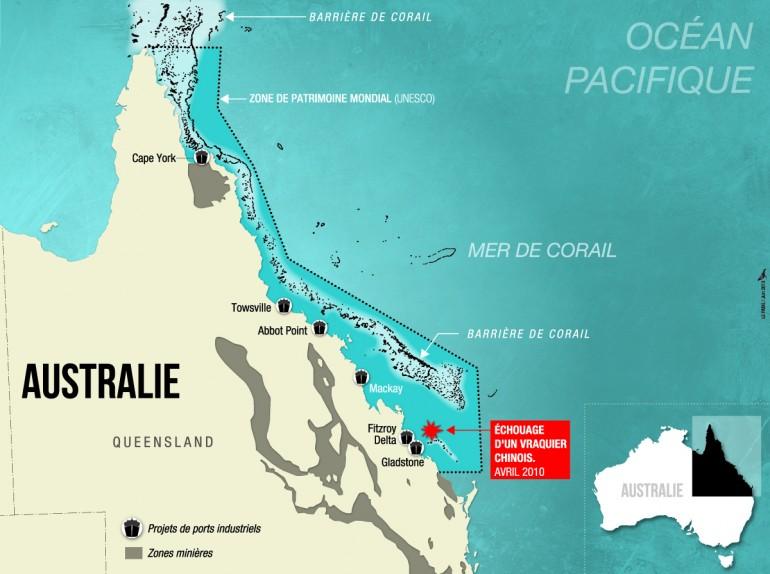 Les nombreux projets industriels à proximité de la grande barrière de corail © OCEAN71 Magazine