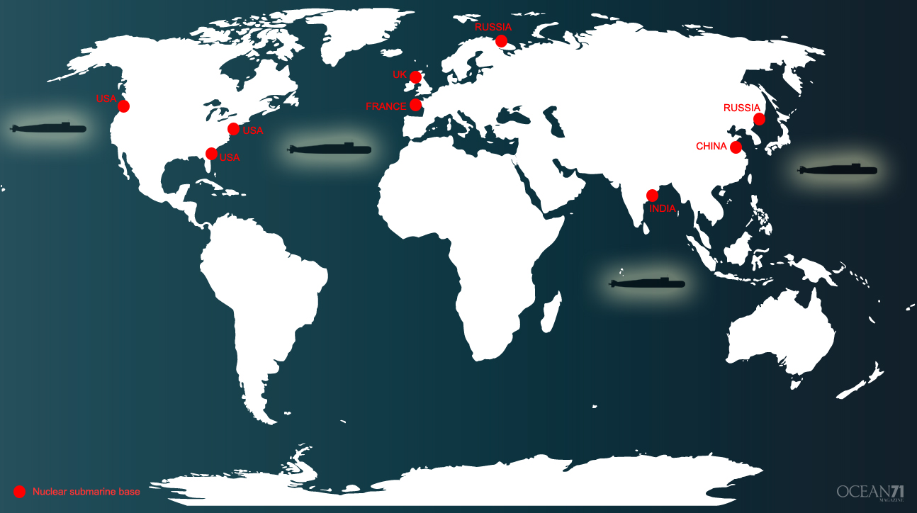 World map highlighting the naval bases by country © OCEAN71 Magazine
