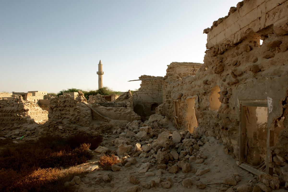 Some of the remains of the Jazira Al Hamra village. Before 1968, the town had 300 houses and 13 mosques © Philippe Henry / OCEAN71 Magazine