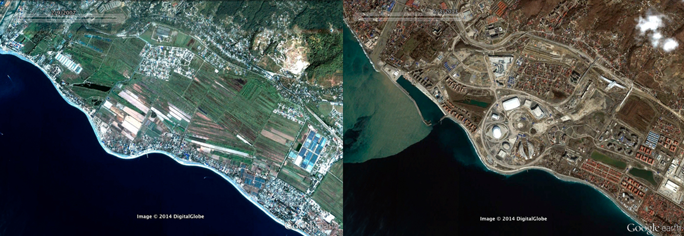 Aerial view of 2007 and 2013, showing the rapid development of Adler, the Olympic site for the 2014 Winter Games and its port  © GoogleEarth