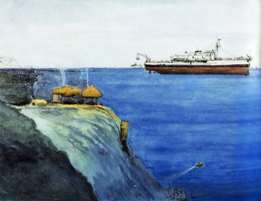 "An illustration of the ""Conshelf II"" mission in the Red Sea, in 1963 © The Cousteau Society"