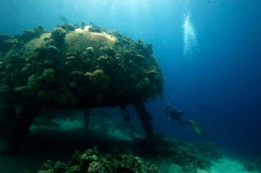 "What remains of the underwater village ""Conshelf II"", off the coast of Sudan in the Red Sea. This photo was taken in 2008 © Jacob Sonne"