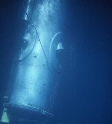Le cylindre de Link dans lequel Robert Sténuit a vécu 26 heures dans la baie de Villefranche © Robert Sténuit
