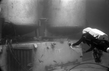 Un aquanaute s'approche de l'entrée de Tektite II en 1970 ©Jean-George Harmelin