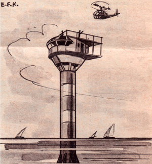 An illustration of the floating island that Cousteau and his team installed in the Mediterranean on December 17th, 1962 © DR