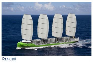 """Le projet de navire de charge à voile """"Ecoliner"""" étudié par la société hollandaise Fairtransport. Le navire ferait 130 mètres de long © Fairtransport"""
