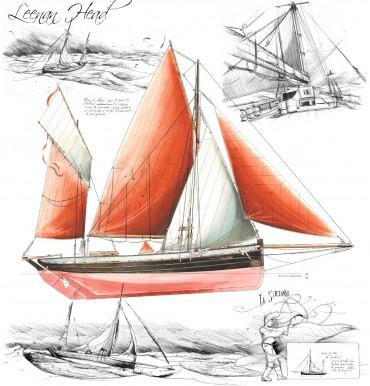 Dessin de Leenan Head, l'un des navires ayant participé au fret à la voile © Dessin de Antoine Bugeon