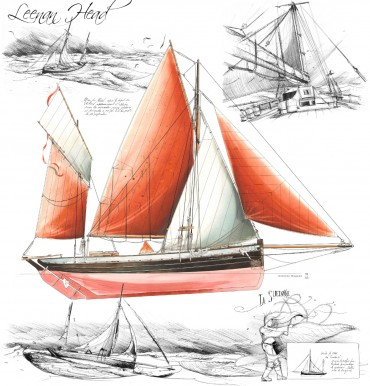 Leenan head is a 100 year old classic yacht which newly transports goods accross the oceans © Drawing by Antoine Bugeon