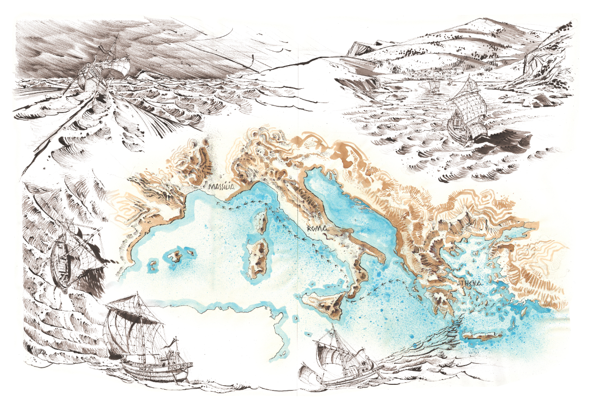 A recreated map and journey of an ancient commercial ship © Antoine Bugeon / OCEAN71 Magazine