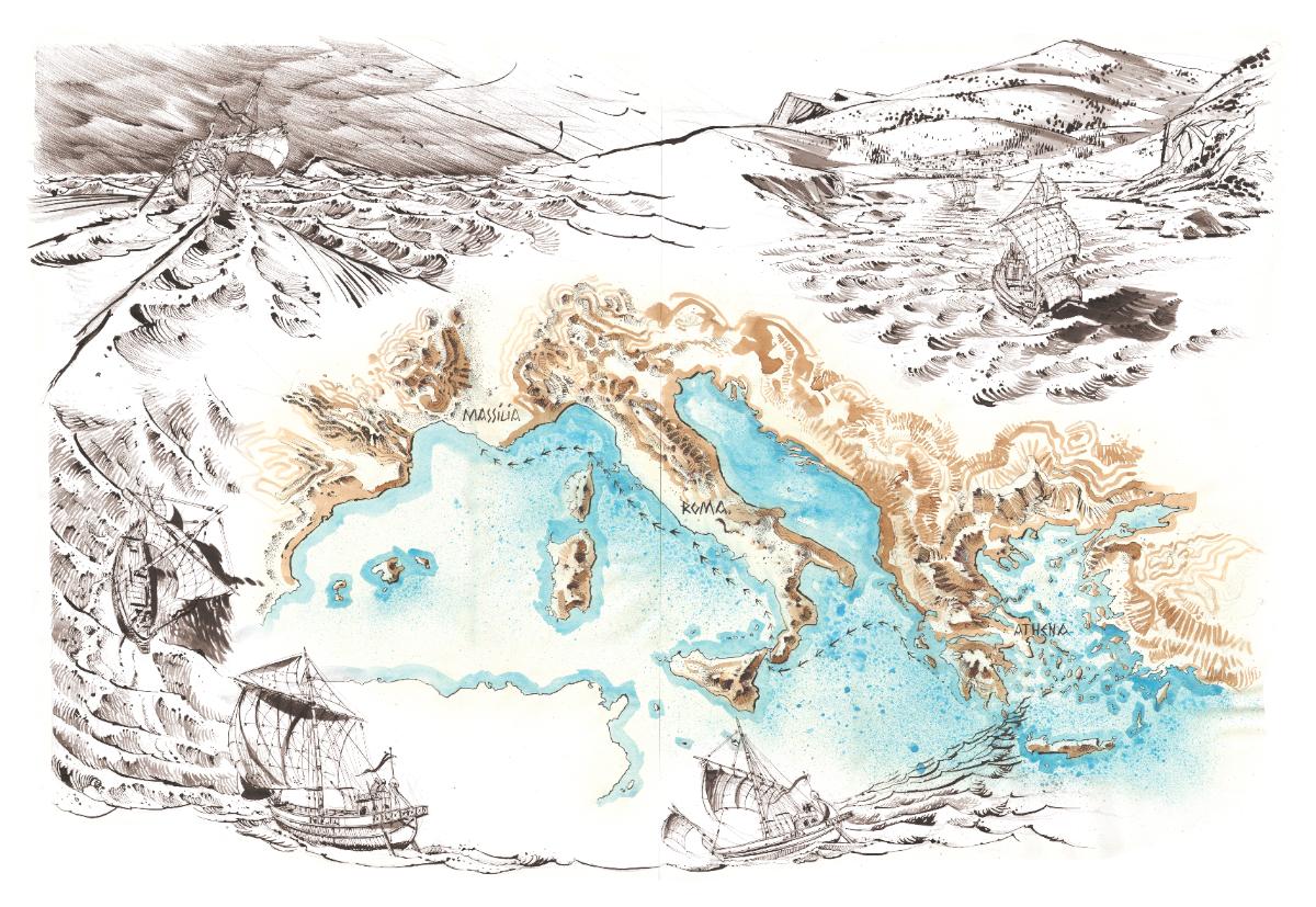 Reconstitution de transport de commerce à la voile à l'époque antique, avec son lot d'incertitudes et de dangers © Antoine Bugeon / OCEAN71 Magazine