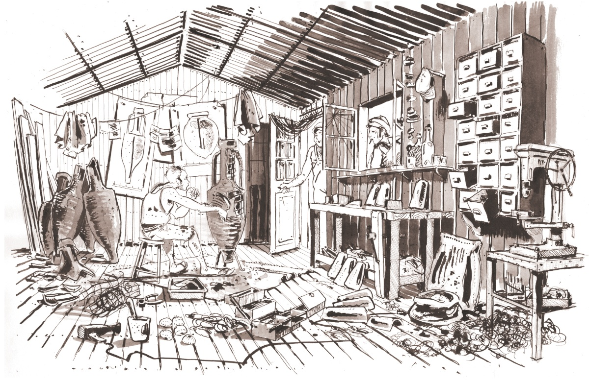 Drawing of José Torres in his small wood house near Cassis © Antoine Bugeon / OCEAN71 Magazine