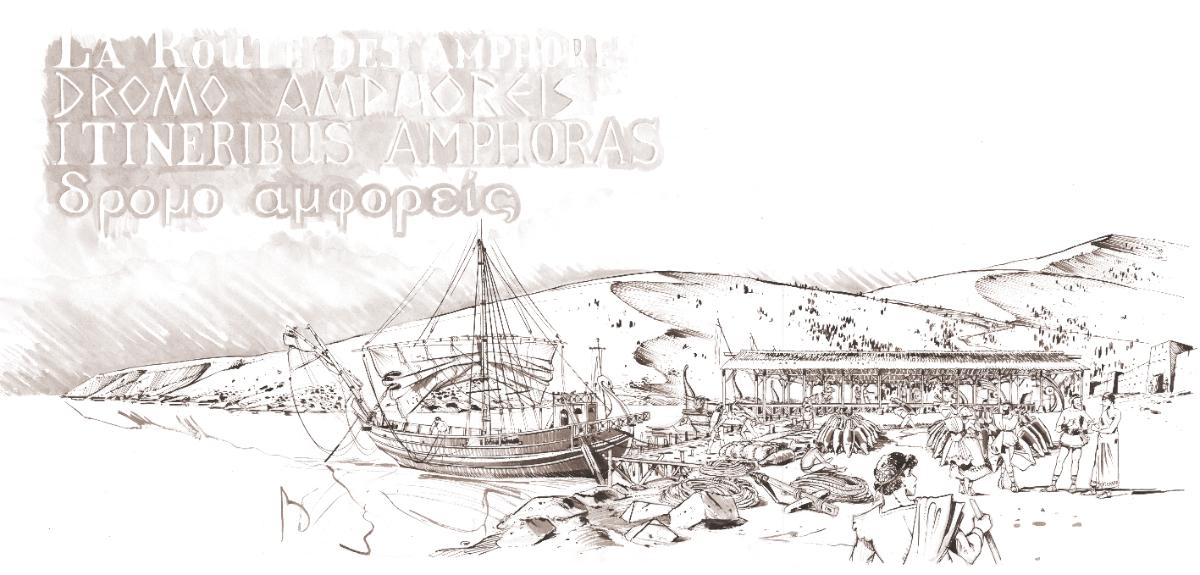 Reconstitution d'un port antique avec l'embarquement à bord d'un navire comme le Markos Sestios d'un chargement d'amphores © Antoine Bugeon / OCEAN71 Magazine