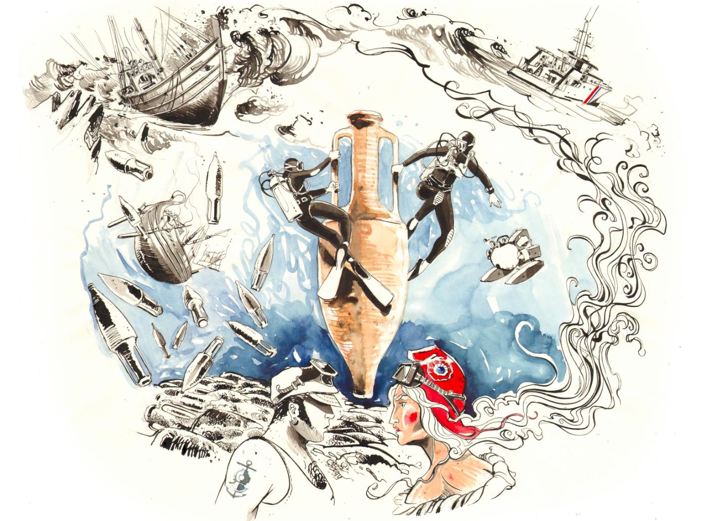 Illustration de la lutte acharnée entre l'archéologie contrôlée par l'Etat et l'entreprise privée © Antoine Bugeon / OCEAN71 Magazine