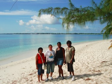 Bernadette Dugasse (on the right) with her group of friends visiting Diego Garcia in 2011 for their first time since they were exepelled in 1972 © Bernadette Dugasse