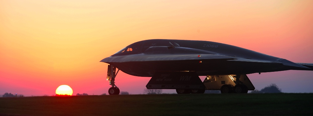 A B-2 Spirit bomber taxis on a flightline Oct. 26, 2014, during Exercise Global Thunder 15. The B-2 is one of the key aircraft used to support U.S. Strategic Command's global strike and bomber assurance and deterrence missions. Its stealth capabilities provide U.S. decision makers the capability to deter strategic attacks and, if necessary, penetrate the most secure defense systems to rapidly deliver its payload. © U.S. Air Force photo/Airman 1st Class Joel Pfiester)
