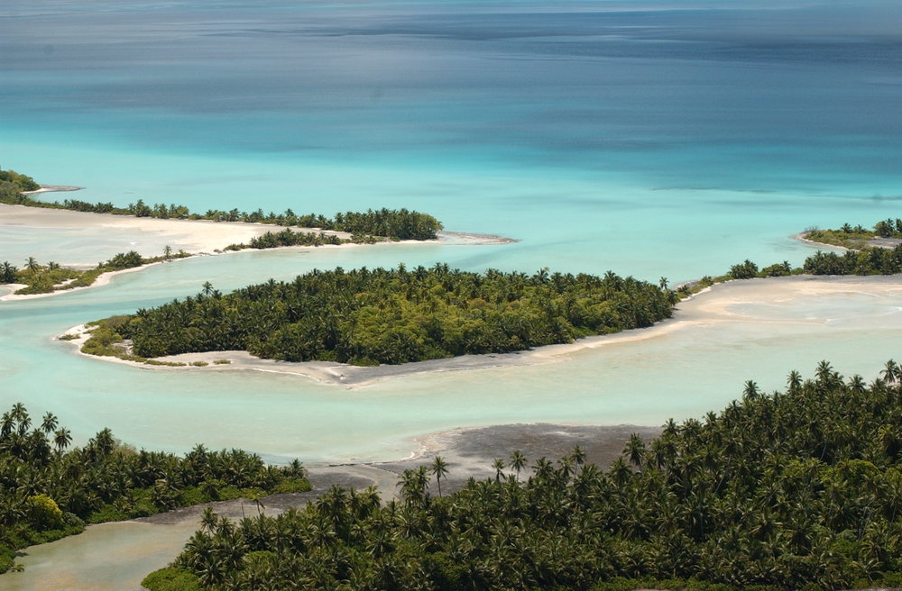 The small estuaries of Diego Garcia where fresh water and sea water mix are places that team with life © military