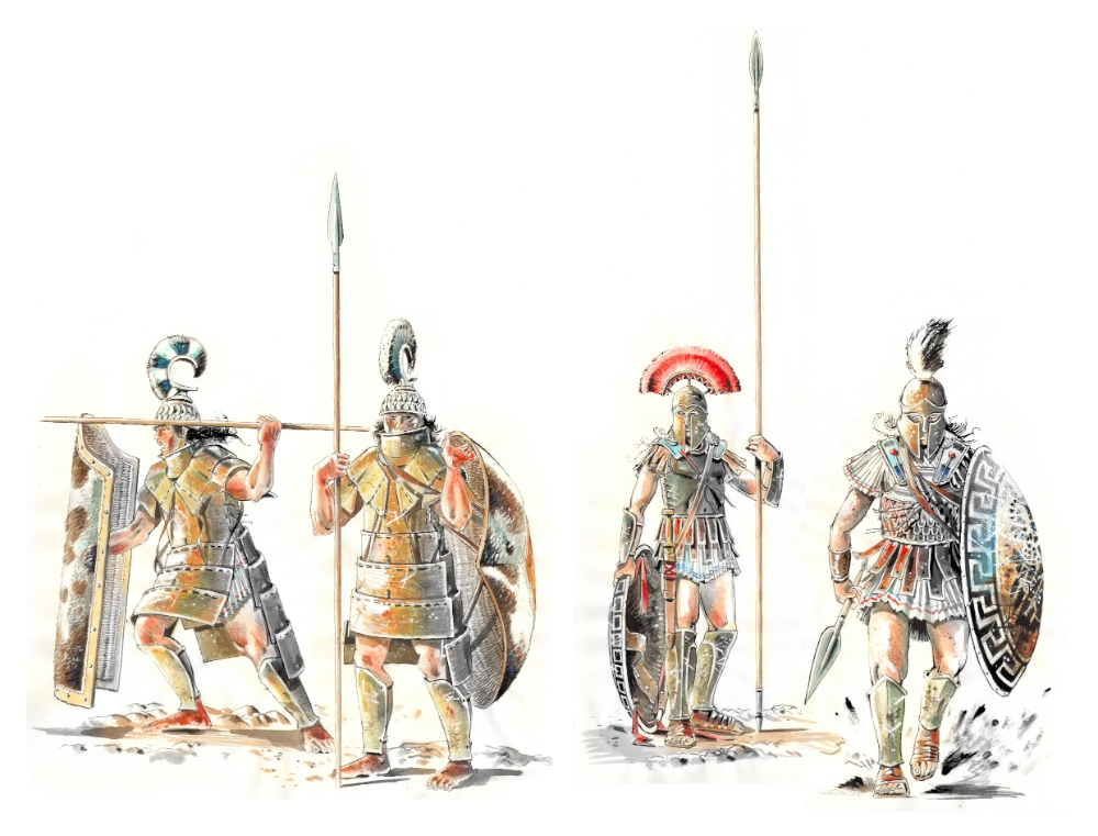 A gauche, deux guerriers mycéneins de l'âge du bronze. A droite, deux hoplites de la Grèce. classique. Plus de sept siècles les séparent © Antoine Bugeon / OCEAN 71 Magazine