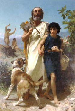"This painting depicts Homer as a blind aoido, and is titled ""Homer and his guide"". It was created in 1874 by the neo-classic painter Adolphe Wiliams Bouguereau. Greek mythology has been an endless source of inspiration for the 19th century classical painters. Most of the time, Homer is represented as a wise old man. © Milwaukee Art Museum / public domain"