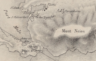 On this 19th century French map of Ithaca, Odysseus' palace is clearly located on the isthmus that connects the two parts of the island © Bibliothèque nationale française (Bnf) / Gallica.fr
