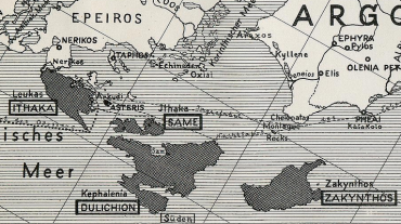 Carte du royaume d'Ulysse selon l'archéologue Willhelm Dörpfeld © DR / OCEAN71 Magazine