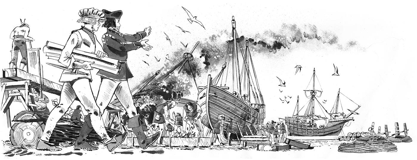 Christophe Colomb et Martin Pinzon arpentent le port de Palos à la recherche de ce vieux roublard Pedro Vazquez de la Frontera © Antoine Bugeon / OCEAN71 Magazine