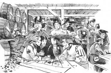 Colomb, Pinzon et Vazquez de la Frontera s'encanaillent dans un bouge du Port de Palos © Antoine Bugeon / OCEAN 71 Magazine